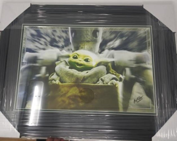 The Child Baby Yoda IG-11 11x17 FRAMED Star Wars Mandaloran Lithograph Print