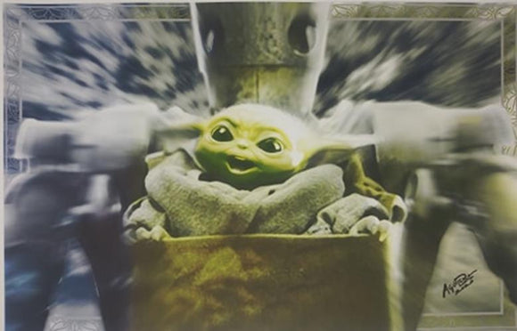 The Child Baby Yoda IG-11 11x17 Star Wars Mandaloran Lithograph Poster Print
