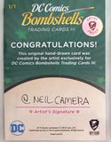 Hawkgirl DC Bombshells Series 3 AP Sketch Card Neil Camera Cryptozoic 1/1