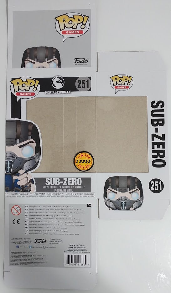 Sub-Zero (CHASE) BOX ONLY Mortal Kombat X Funko Pop BOX Signed by Steve Blum