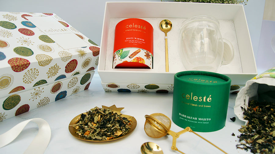 celeste floral and herbal tea gift box with CLEAR BREWING CUP and DECADENT SPOON