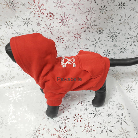 Red Hockey Hoodie Casual Canine