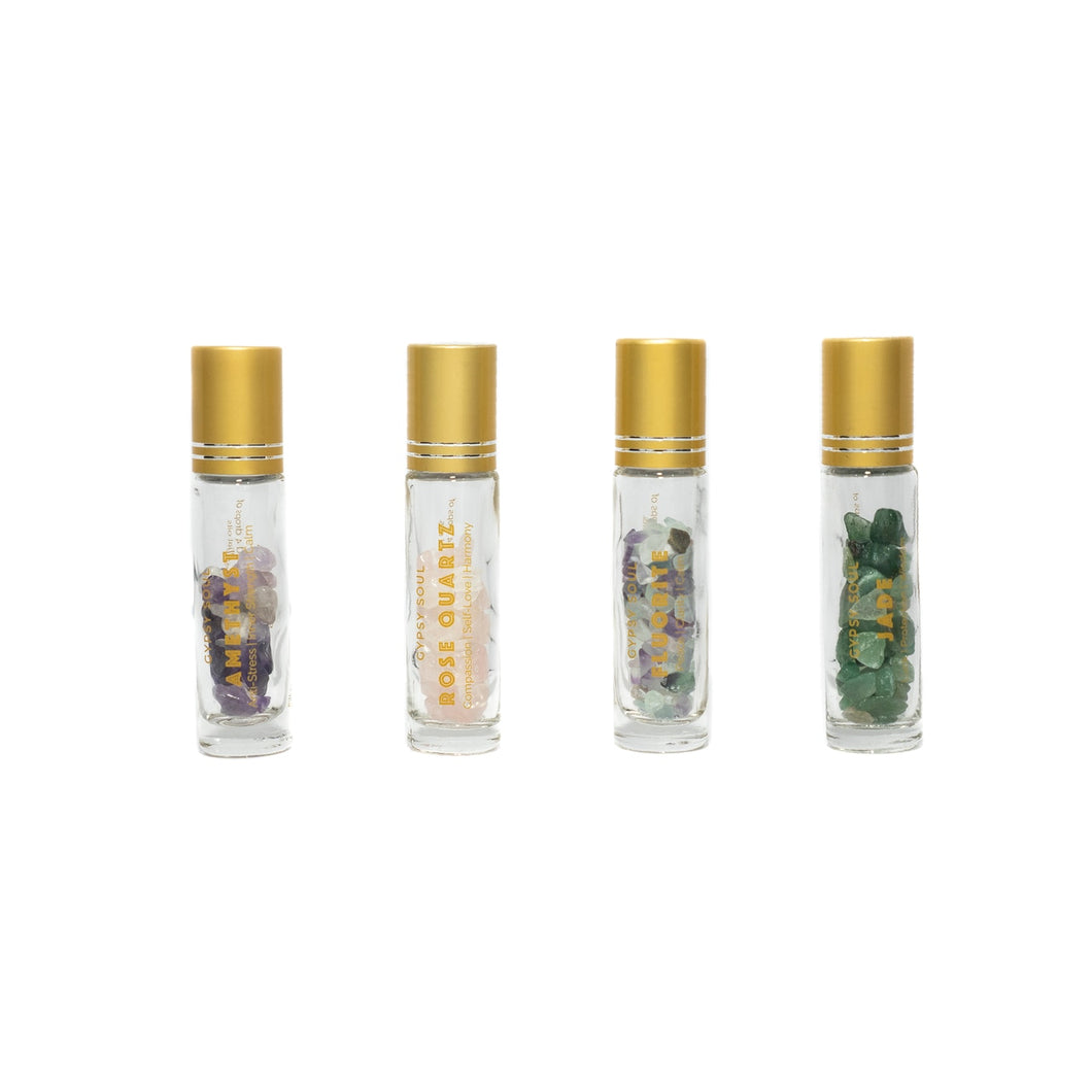 Gypsy Soul Essential Oils Crystal Roller Collection – 4 Pc Set