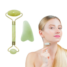 Load image into Gallery viewer, Revive Beauty Dual-End Jade Roller + Gua Sha Stone, Facial Massage Set