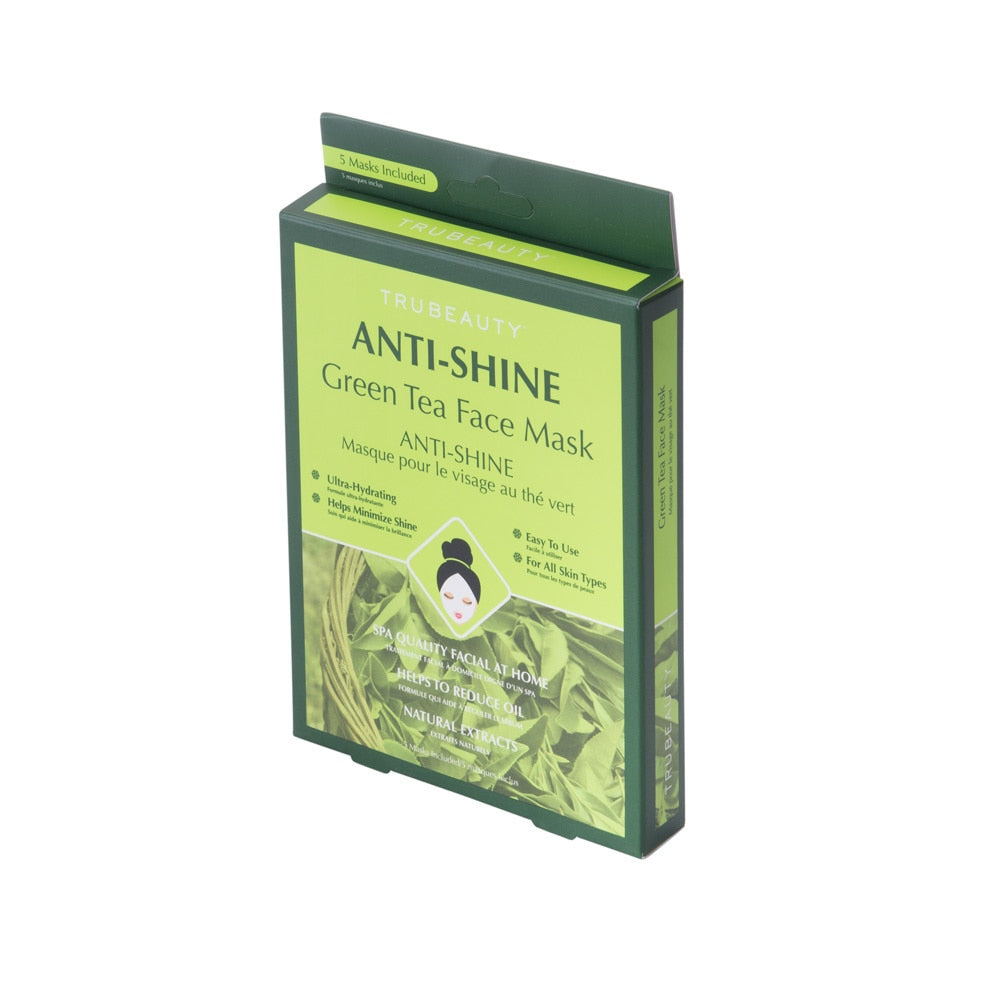 Tru Beauty Anti-Shine Mask - Green Tea - 5 Pack