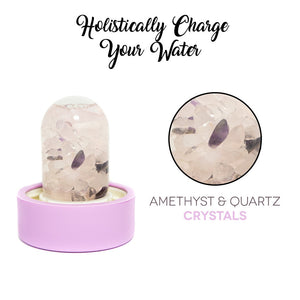 Lifestyle Products Glass Water Bottle, Natural Amethyst and Quartz Crystals, Includes Protective Neoprene Sleeve
