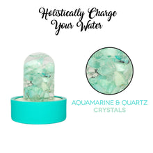 Load image into Gallery viewer, Lifestyle Products Glass Water Bottle, Natural Aquamarine and Quartz Crystals, Includes Protective Neoprene Sleeve