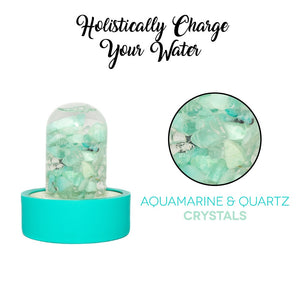 Lifestyle Products Glass Water Bottle, Natural Aquamarine and Quartz Crystals, Includes Protective Neoprene Sleeve