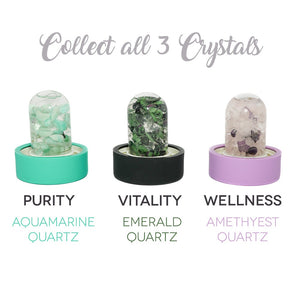 Lifestyle Products Glass Water Bottle, Natural Emerald and Quartz Crystals, Includes Protective Neoprene Sleeve