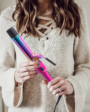 "Load image into Gallery viewer, Professional 1.25"" Titanium Curling Iron By TruBeauty - Metallic Pink/Rainbow Titanium"