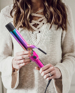 "Professional 1.25"" Titanium Curling Iron By TruBeauty - Metallic Pink/Rainbow Titanium"