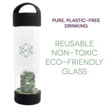 Load image into Gallery viewer, Lifestyle Products Glass Water Bottle, Natural Emerald and Quartz Crystals, Includes Protective Neoprene Sleeve