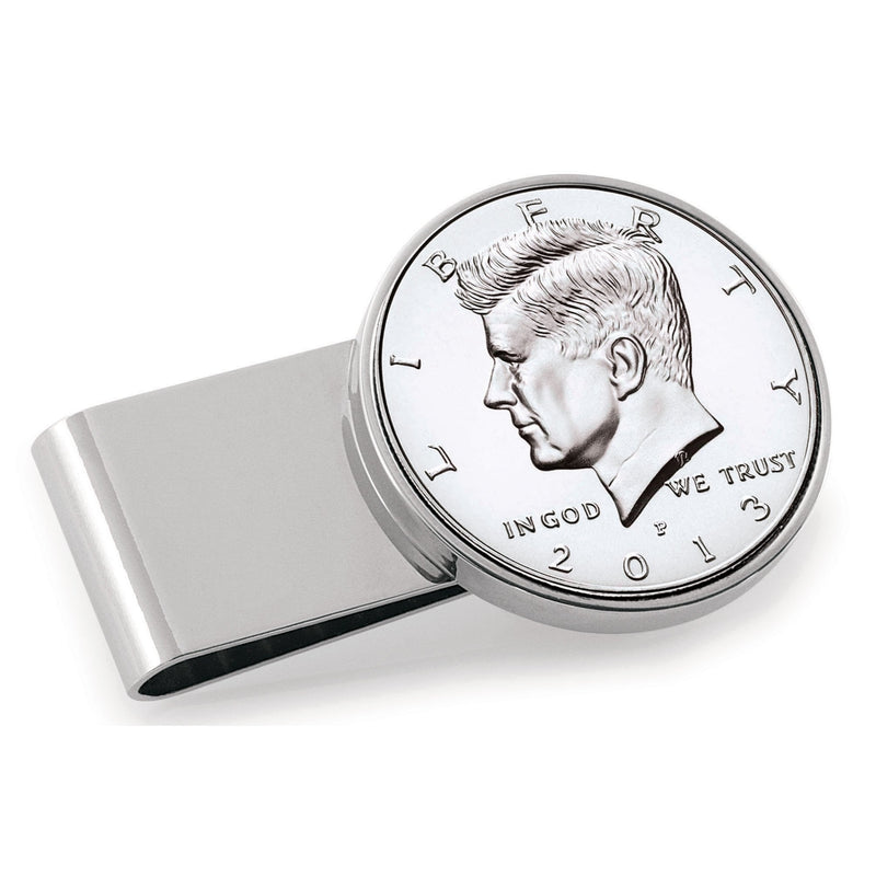 Half Dollar Coin Stainless Steel Money Clip, Silver Tone, Monogrammed, Choose The Year To Commemorate - The New Deal Shop ?id=17120872136867