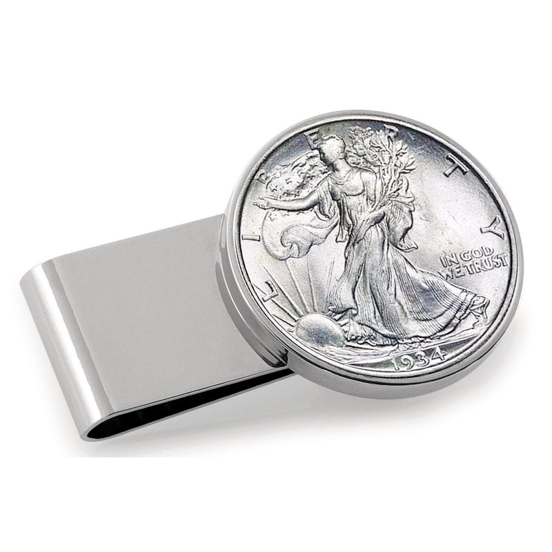 Half Dollar Coin Stainless Steel Money Clip, Silver Tone, Monogrammed, Choose The Year To Commemorate - The New Deal Shop ?id=17120872005795