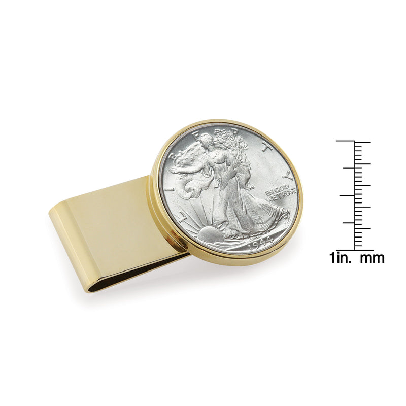 Half Dollar Coin Stainless Steel Money Clip, Gold Tone, Monogrammed, Choose The Year To Commemorate