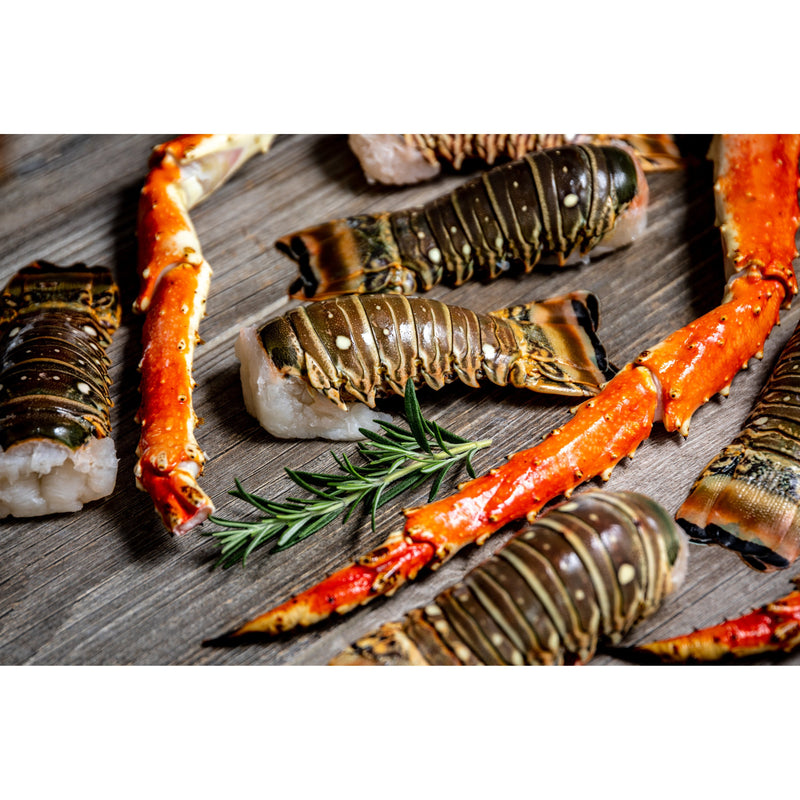 Lobster Tails and Alaskan King Crab Legs, 7 Lobster Tails and 3 King Crab Legs - The New Deal Shop