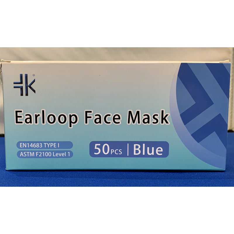 Face Mask, ASTM Level 1, Earloop, Blue (Box of 50)