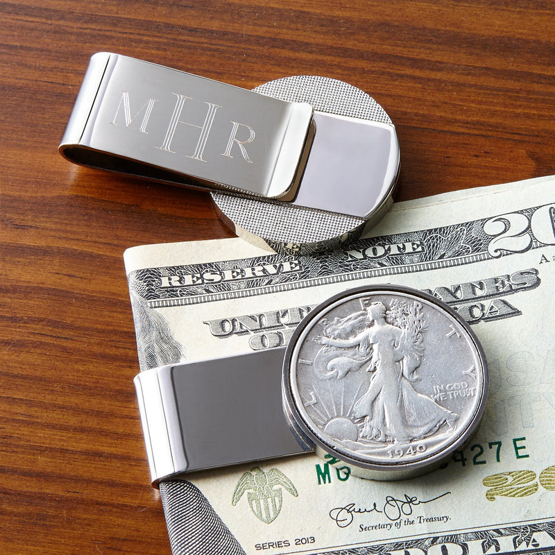 Half Dollar Coin Stainless Steel Money Clip, Silver Tone, Monogrammed, Choose The Year To Commemorate - The New Deal Shop ?id=17178055737507