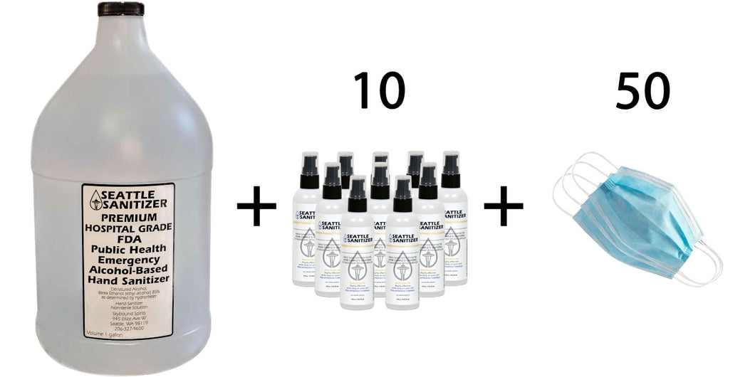 1 gallon + 10 4-oz bottles + 50 face masks