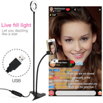 Selfie Ring Light with Flexible Mobile Phone Holder Live Streamer.
