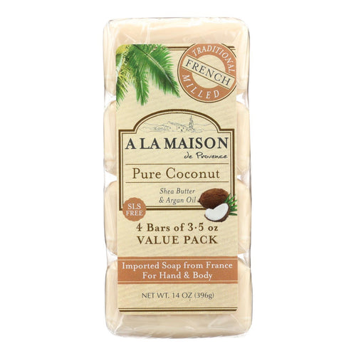 A La Maison - Bar Soap - Pure Coconut - 4-3.5 Oz A La Maison Bath And Body - Peach Ruby