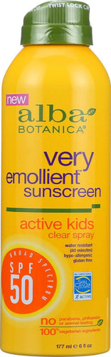 Alba Botanica Sunscreen - Very Emollient - Clear Spray Spf 50 - Active Kids - 6 Oz Alba Botanica Baby And Children - Peach Ruby