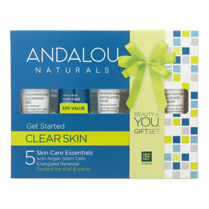 Andalou Naturals Get Started Clarifying 5 Piece Kit - 1 Kit Andalou Naturals Facial Care - Peach Ruby