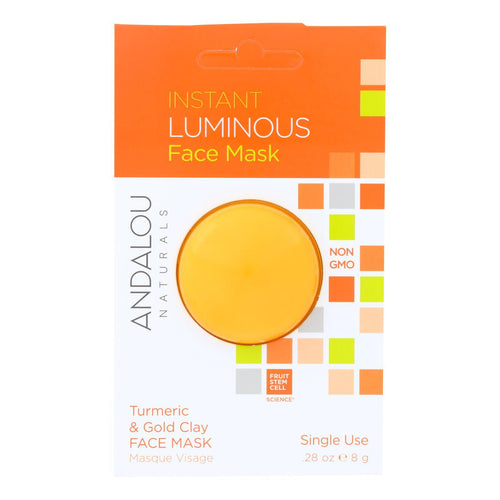 Andalou Naturals Instant Luminous Face Mask - Turmeric & Gold Clay - Case Of 6 - 0.28 Oz Andalou Naturals Facial Care - Peach Ruby
