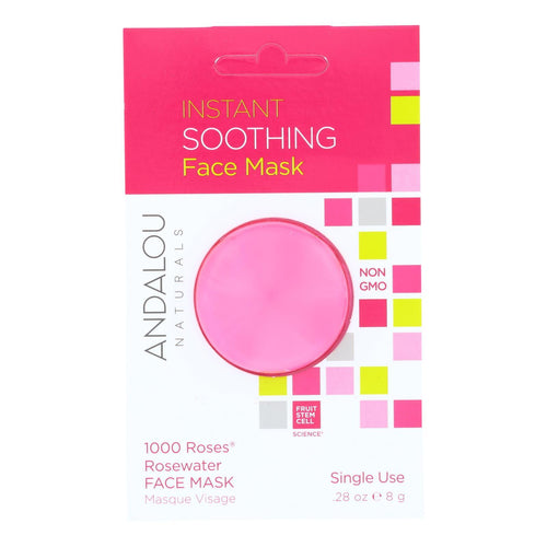 Andalou Naturals Instant Soothing Face Mask - 1000 Roses Rosewater - Case Of 6 - 0.28 Oz Andalou Naturals Facial Care - Peach Ruby