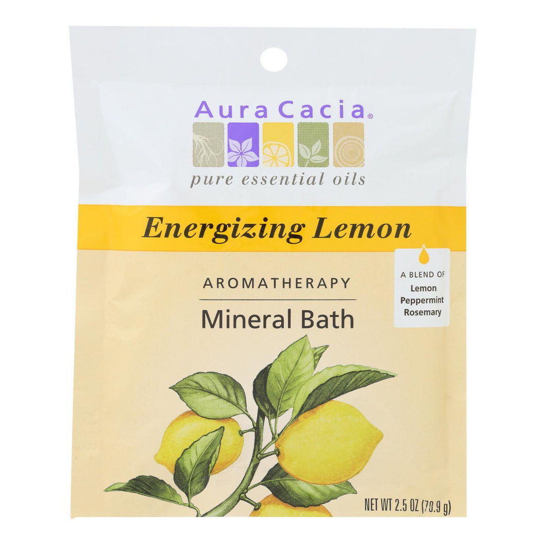 Aura Cacia - Aromatherapy Mineral Bath Energizing Lemon - 2.5 Oz - Case Of 6 Aura Cacia Botanicals And Herbs - Peach Ruby