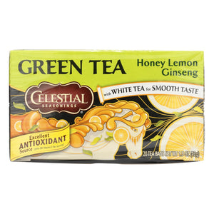 Celestial Seasonings Green Tea Honey Lemon Ginseng With White Tea - 20 Tea Bags - Case Of 6