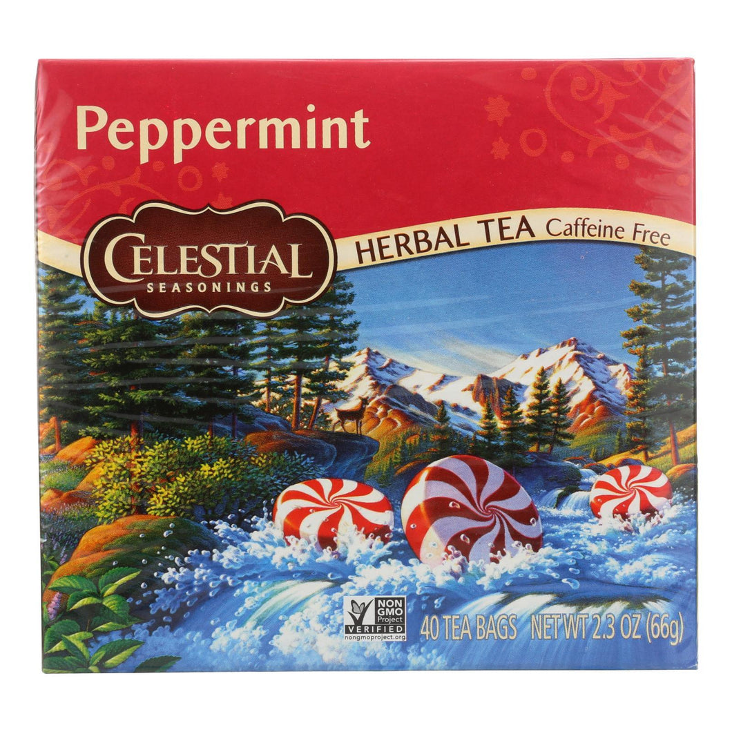 Celestial Seasonings Herbal Tea Caffeine Free Peppermint - 40 Tea Bags - Case Of 6