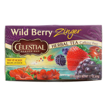 Load image into Gallery viewer, Celestial Seasonings Herbal Tea - Caffeine Free - Wild Berry Zinger - 20 Bags