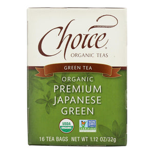 Choice Organic Teas Premium Japanese Green Tea - 16 Tea Bags - Case Of 6
