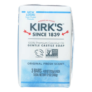 Kirk's Natural Castile Soap Original - 4 Oz Each - Pack Of 3