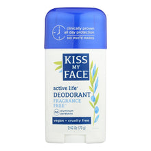 Load image into Gallery viewer, Kiss My Face Deodorant Natural Active Life Fragrance Free Natural Active Life Aluminum Free - 2.48 Oz