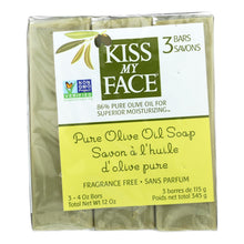 Load image into Gallery viewer, Kiss My Face Pure Olive Oil Moisturizing Soap - Pack Of 3 - 4 Oz