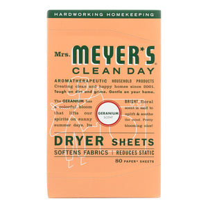 Mrs. Meyer's Clean Day - Dryer Sheets - Geranium - Case Of 12 - 80 Sheets