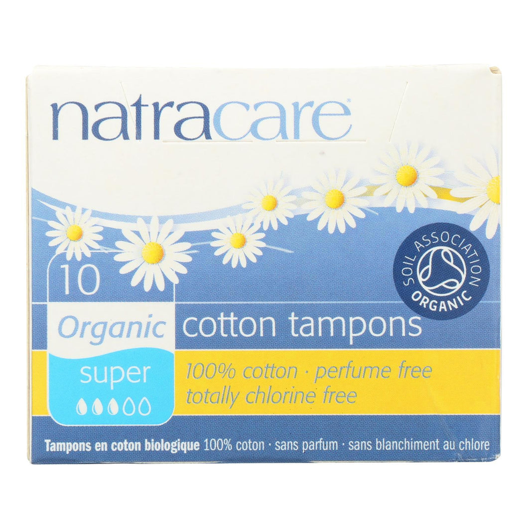 Natracare 100% Organic Cotton Tampons - Super - 10 Pack