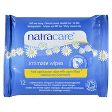 Load image into Gallery viewer, Natracare Organic Cotton Intimate Wipes - 12 Wipes - Case Of 12