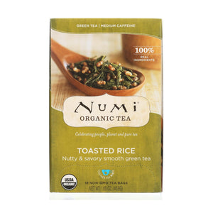 Numi Tea Toasted Rice Green Tea - Organic - Case Of 6 - 18 Bags