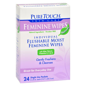Puretouch Feminine Wipes Flushable - 24 Wipes