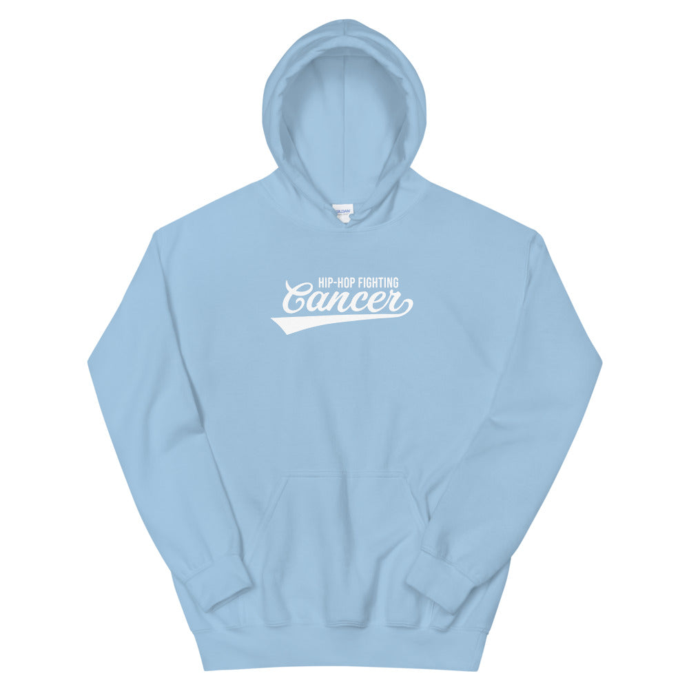 Hip Hop Fighting Cancer Hoodie - Light Blue/White