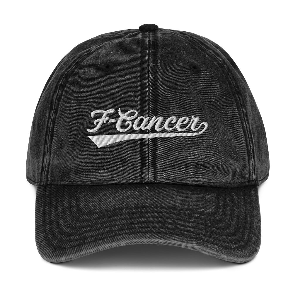 F-Cancer Vintage Cotton Twill Cap - Black/White