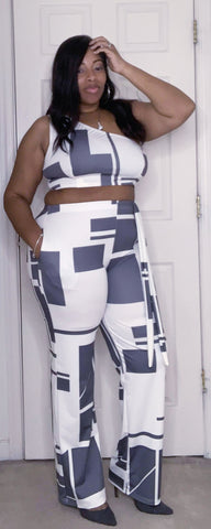 Grey and white pants set