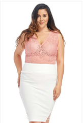 Pink Plus Size Lace Top