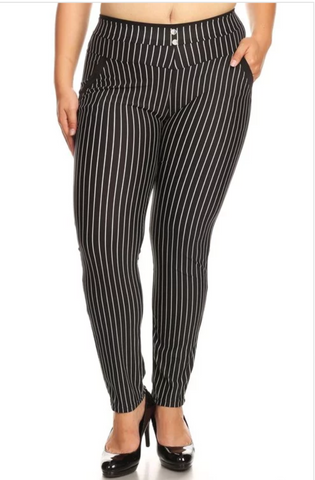 Black high waist with stripe pants