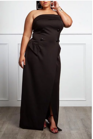 Royalty Plus Size Strapless Black Dress