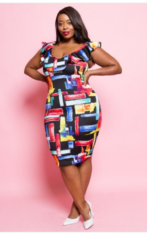 Tetris off the shoulders colorful dress