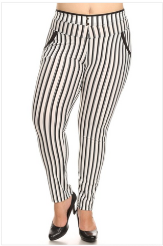 White high waist with stripes pants